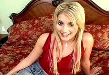 Blonde teen showing how outgoing she is