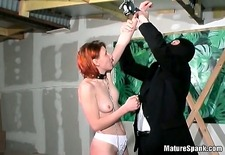 She enjoyed in this bondage play with these horny studs
