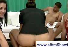 Hot cfnm girl gets nailed doggystyle in front of curious ladies
