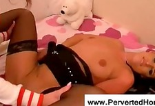 Innocent blonde cheerleader using toys