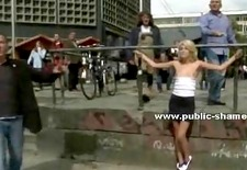 Slim blonde with small tits public sex
