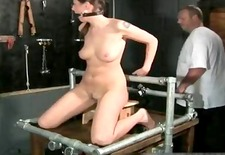 Kinky brunette slut is bound and spanked