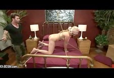 Bondage blonde babe gets spanking and sexual domination