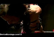 Tied with straps babe gets flogged