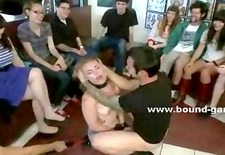 Blonde with leather leish and cuffs spitted spanked hit and humiliated in public group sex video