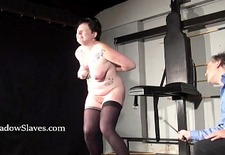 Hellpain amateur whipping and tattooed slaveslut spanking in dungeon
