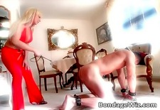 Big boobed blonde likes to spank guys