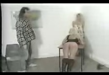 Two blondes get alternately caned