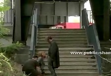 Office career girl unconvers her big tits in public made by per