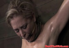 Tied up nipple clamped sub punished