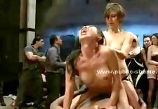 Brunette with delicious big breasts clothes ripped apart before g
