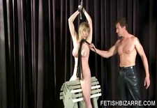 Slutty slave being pussy toyed