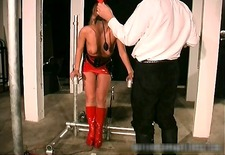Foxy blonde babe gets bound and spanked