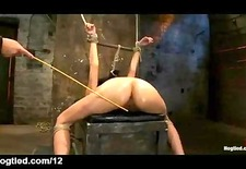 Nice ass bound babe foot and ass caned and pussy vibed
