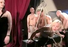 Blonde with perky tits brought on the scene to show off gets surp