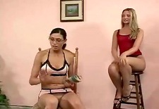 Two hot babes spank this man