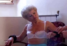 Experienced slutty granny gets some mighty young chopper inside her