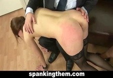Spanking punishment for office babe
