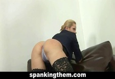 Hard spanking for sexy blonde lady