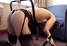 me tied to a clothes rack and getting spanked by my bf :)
