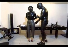 Horny slave girl pleases her master