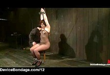 Bound in sitting position on dildo