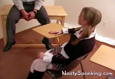 Naughty schoolgirl asking for spanking