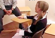 Naughty schoolgirl spanked by teacher