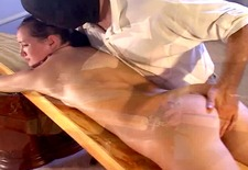 Cute brunette BDSM vibrator massage