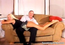 Slutty blonde babe gets booty spanked part6