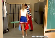 Naughty cheerleader gets her ass spanked by her teacher at the locker room
