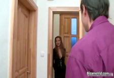 Awesome brunette teacher spanks her part4