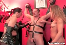 Young hot blonde spanks tied guys butt