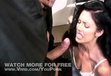 Brunette Strips And Gag On 2 Dicks