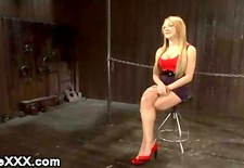 Plugged and hooked ass blonde gets hard ass caned