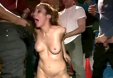 This slutty bitch Princess Donna Dolore was behaving badly on party where were men only. And that is why they decided to give her discipline lesson and to gangbang the whore.