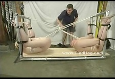 Two blonde and sultry women are flogged