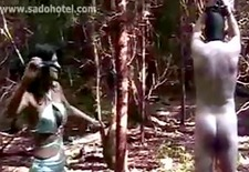 Slave gets hit with a whip by horney dominatrix