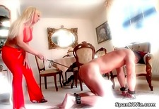 Ultra blonde MILF with big tits loves