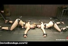 Pinned down babes caned and vibed in group