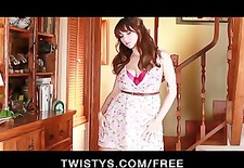 Cute teen brunette Shay Laren plays with her big natural-tits