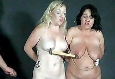 Two slavesluts tit tormented and breast whipped