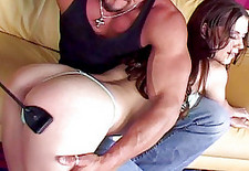 Hot Brunette Gets Spanked And Stuffed