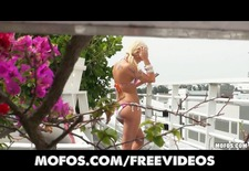 Sun bathing blonde punishes her man for spying on her